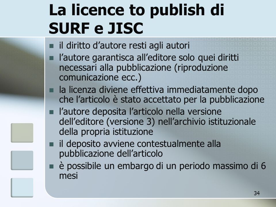 La licence to publish di SURF e JISC