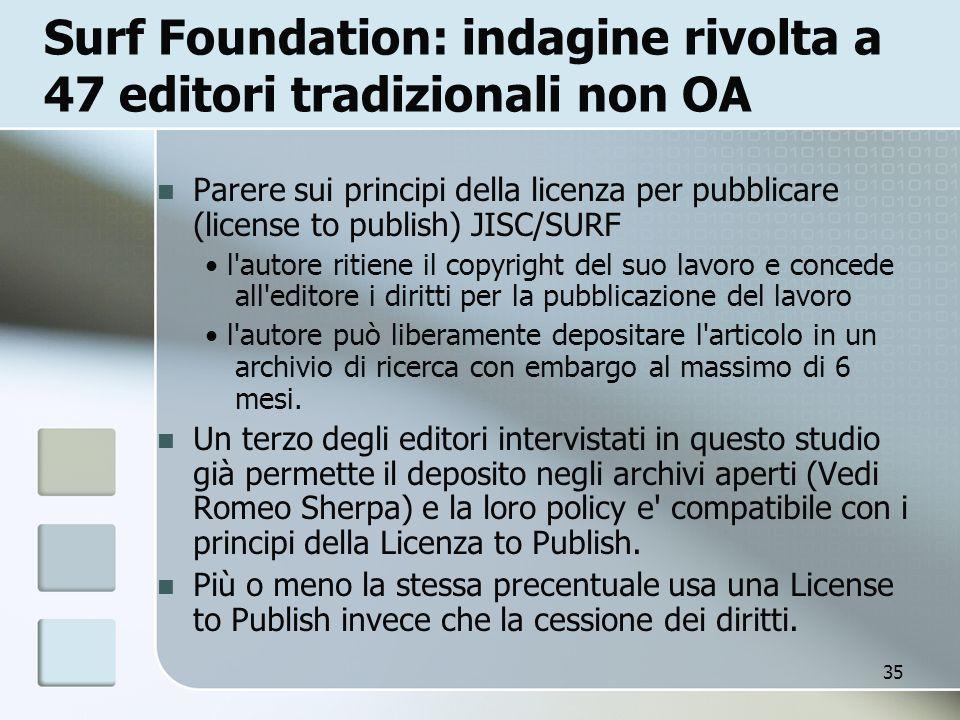 Surf Foundation: indagine rivolta a 47 editori tradizionali non OA