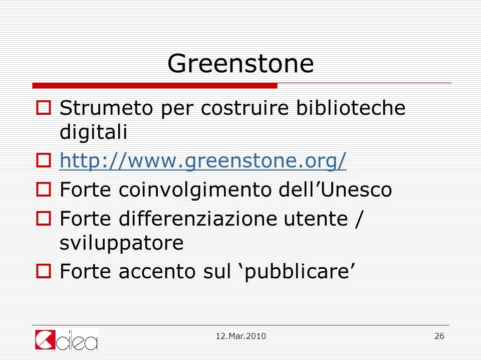 Greenstone Strumeto per costruire biblioteche digitali