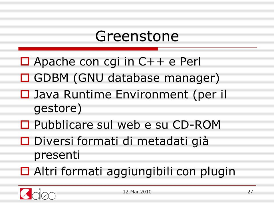 Greenstone Apache con cgi in C++ e Perl GDBM (GNU database manager)