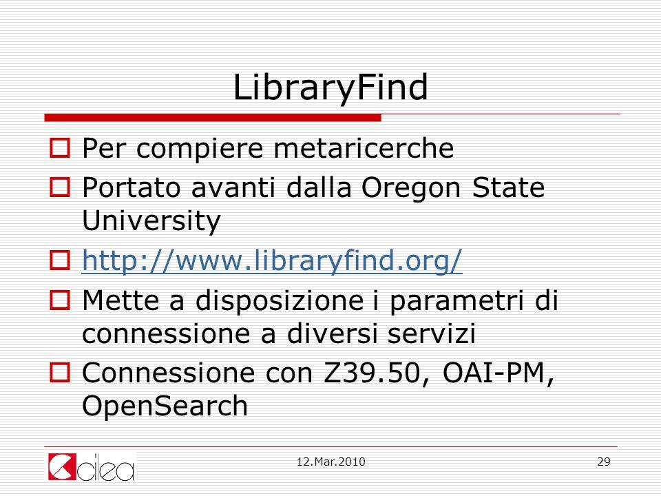 LibraryFind Per compiere metaricerche