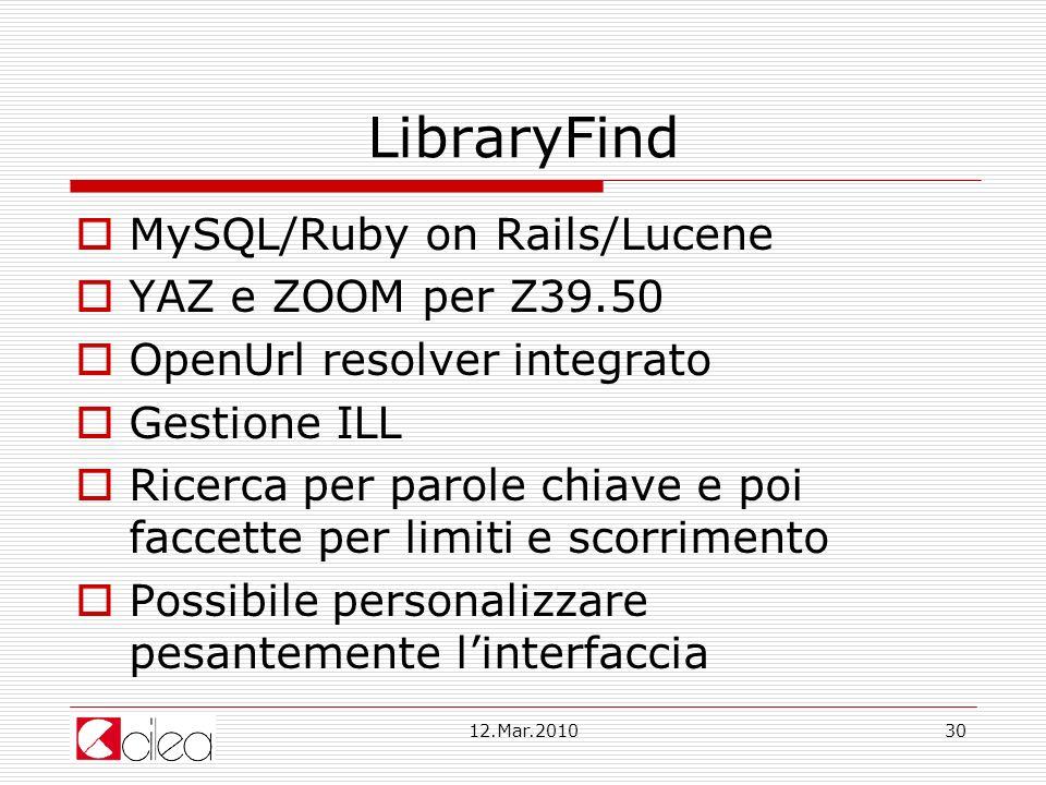 LibraryFind MySQL/Ruby on Rails/Lucene YAZ e ZOOM per Z39.50