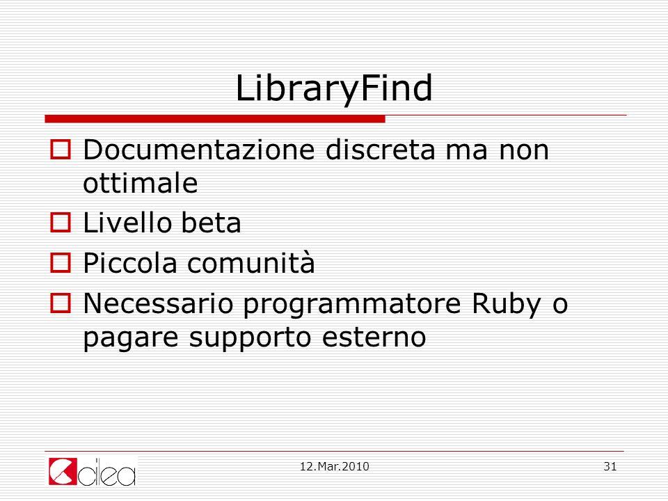 LibraryFind Documentazione discreta ma non ottimale Livello beta