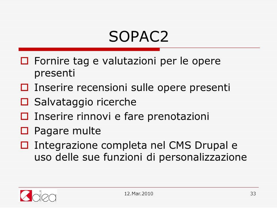 SOPAC2 Fornire tag e valutazioni per le opere presenti