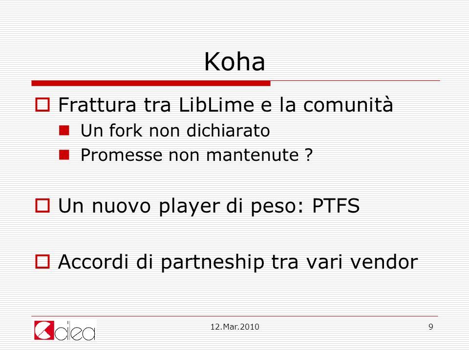 Koha Frattura tra LibLime e la comunità Un nuovo player di peso: PTFS