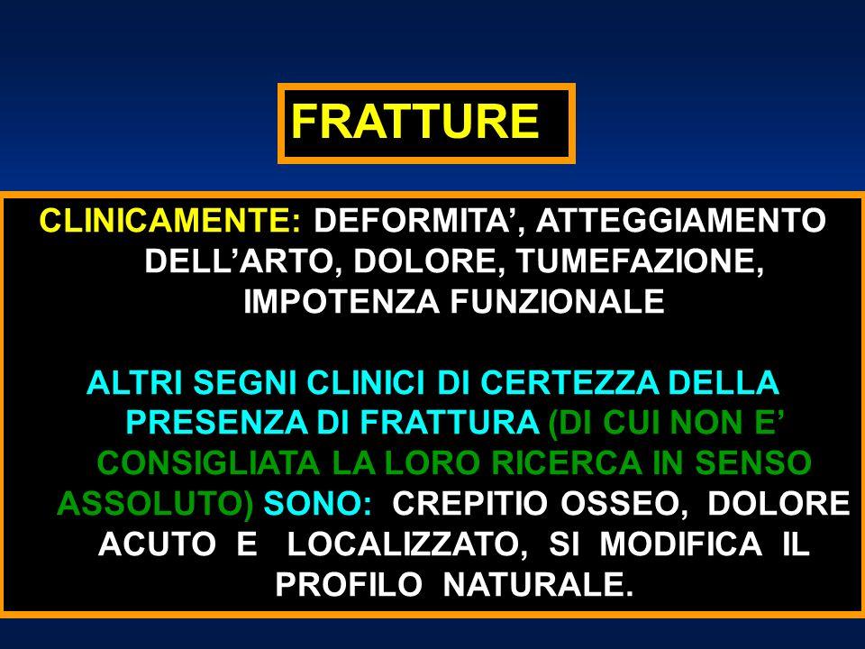 FRATTURECLINICAMENTE: DEFORMITA', ATTEGGIAMENTO DELL'ARTO, DOLORE, TUMEFAZIONE, IMPOTENZA FUNZIONALE.