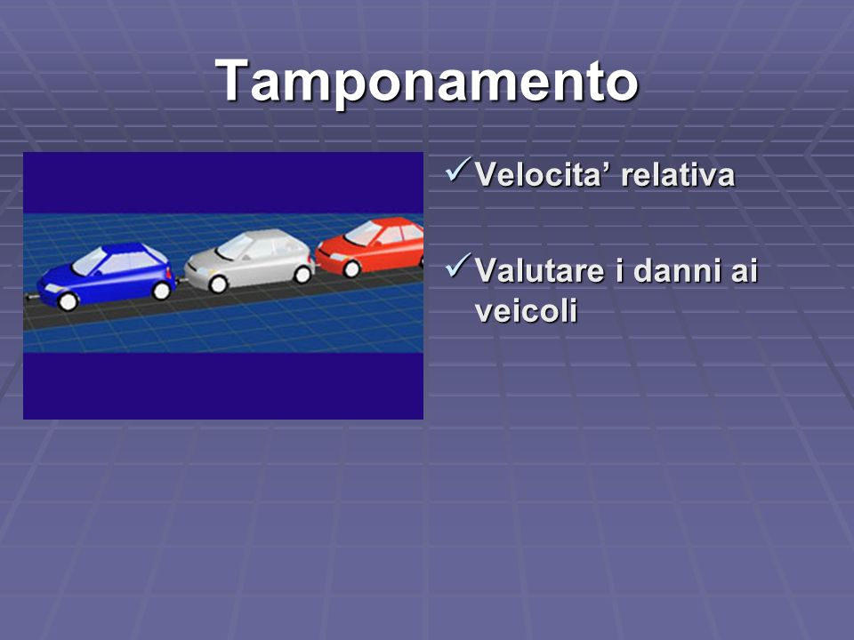Tamponamento Velocita' relativa Valutare i danni ai veicoli