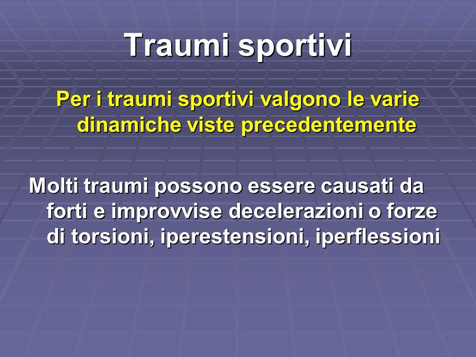 Per i traumi sportivi valgono le varie dinamiche viste precedentemente