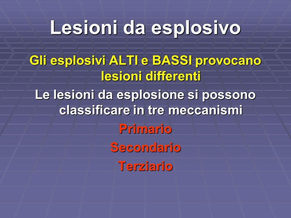 Lesioni da esplosivo Gli esplosivi ALTI e BASSI provocano lesioni differenti. Le lesioni da esplosione si possono classificare in tre meccanismi.