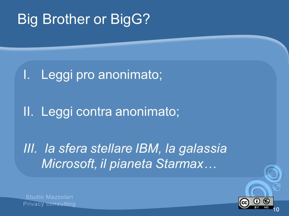 Big Brother or BigG Leggi pro anonimato; Leggi contra anonimato;