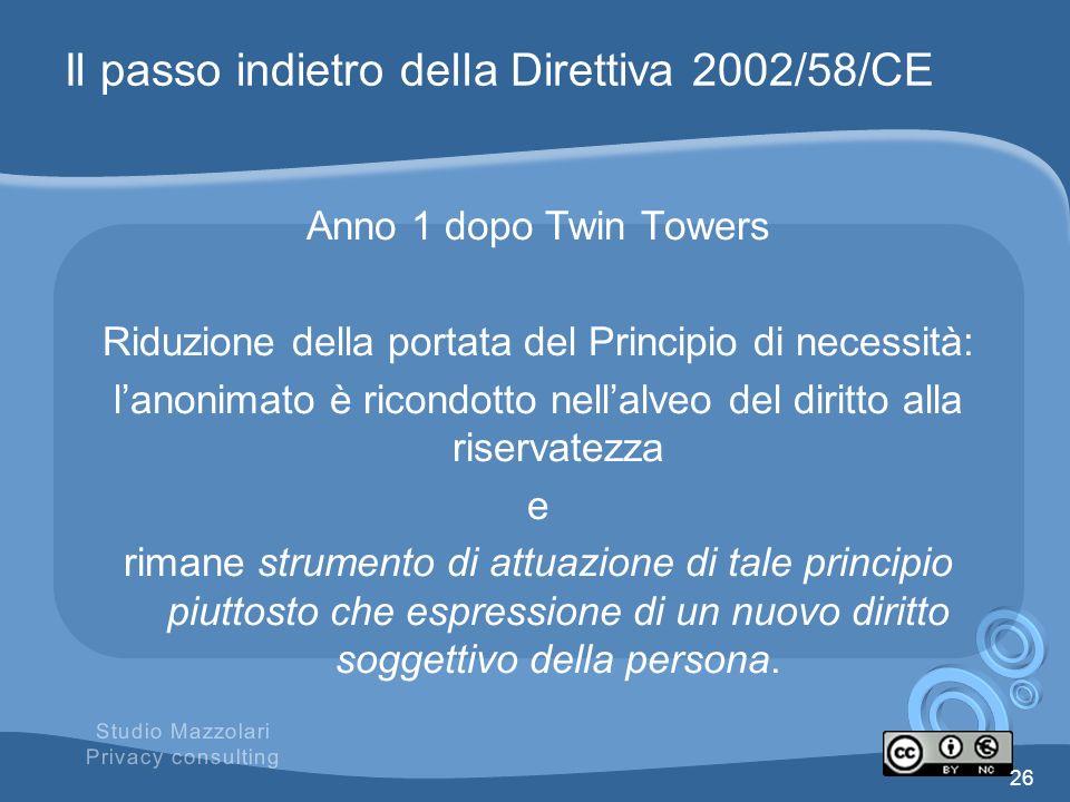 Il passo indietro della Direttiva 2002/58/CE
