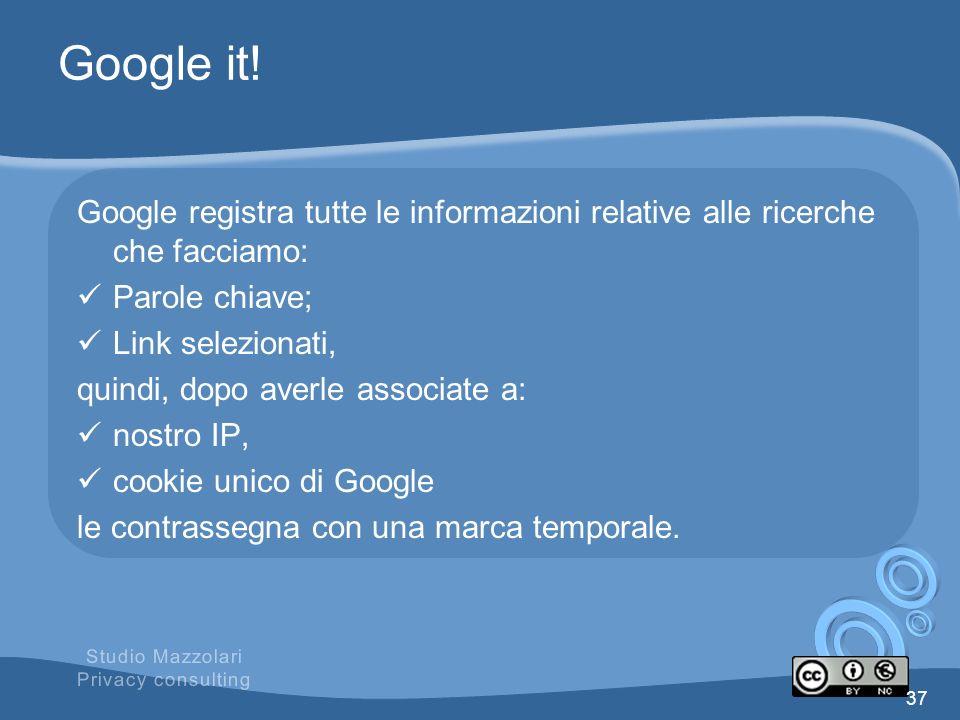 Google it! Google registra tutte le informazioni relative alle ricerche che facciamo: Parole chiave;