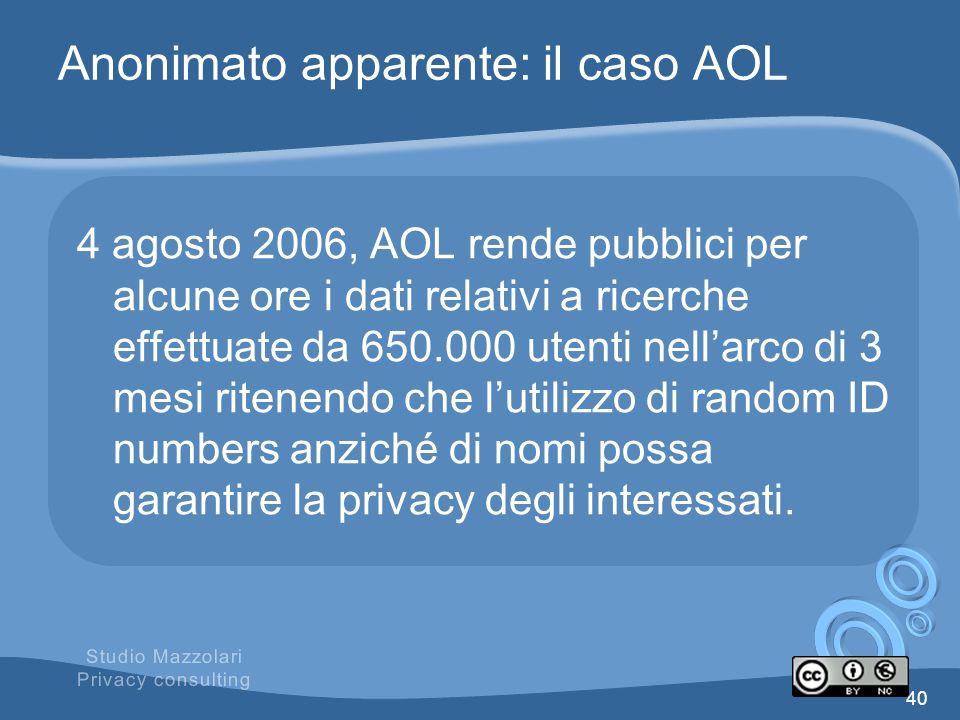 Anonimato apparente: il caso AOL
