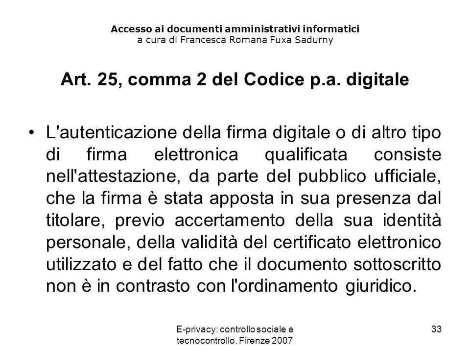 Art. 25, comma 2 del Codice p.a. digitale