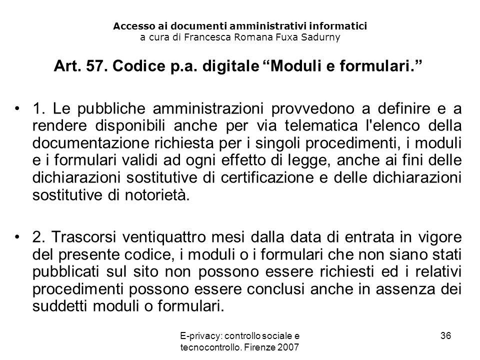 Art. 57. Codice p.a. digitale Moduli e formulari.