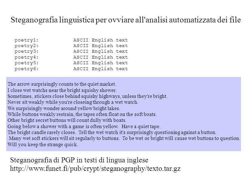 Steganografia linguistica per ovviare all analisi automatizzata dei file