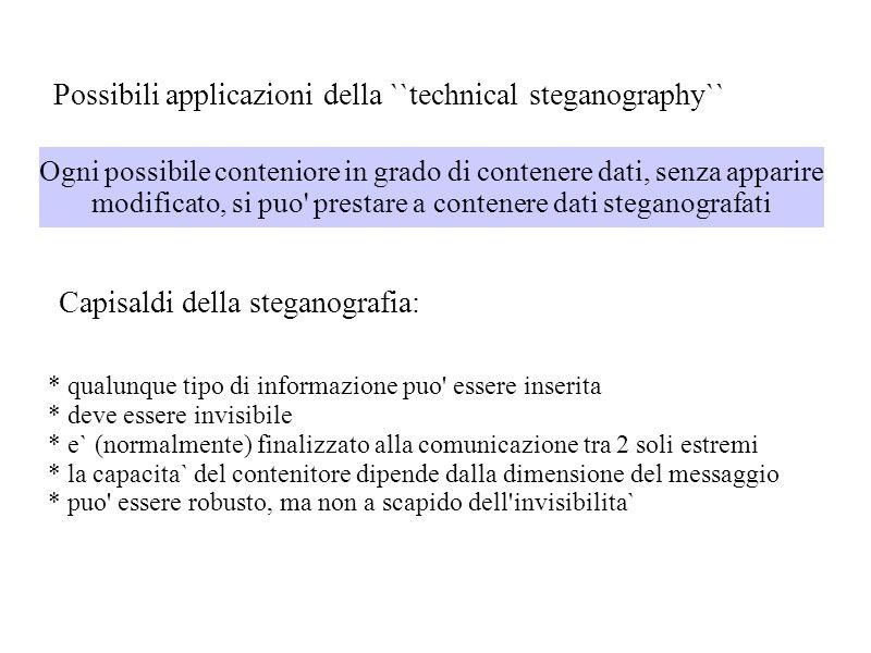 Possibili applicazioni della ``technical steganography``