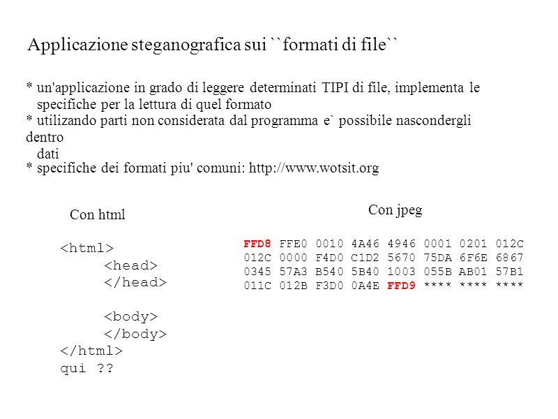 Applicazione steganografica sui ``formati di file``