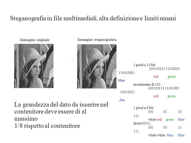 Steganografia in file multimediali, alta definizione e limiti umani