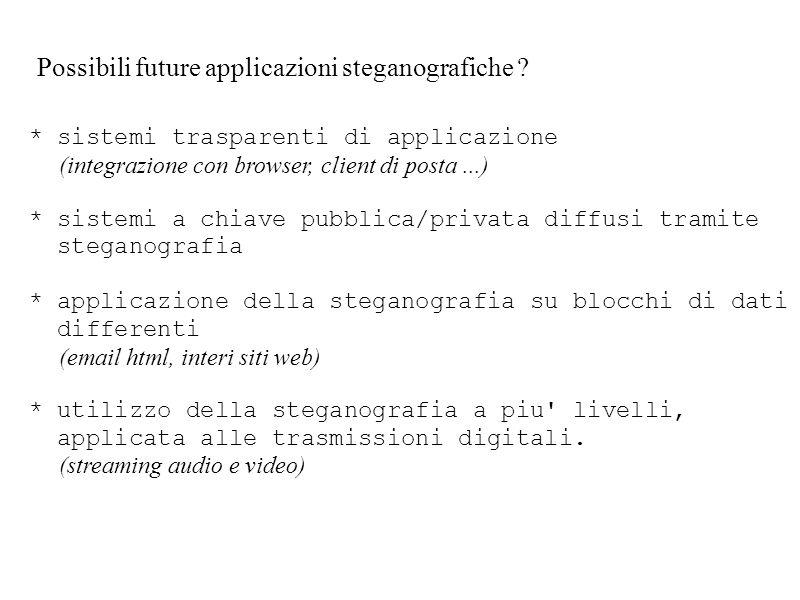 Possibili future applicazioni steganografiche