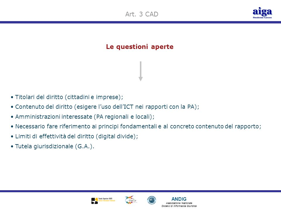 Art. 3 CAD Le questioni aperte