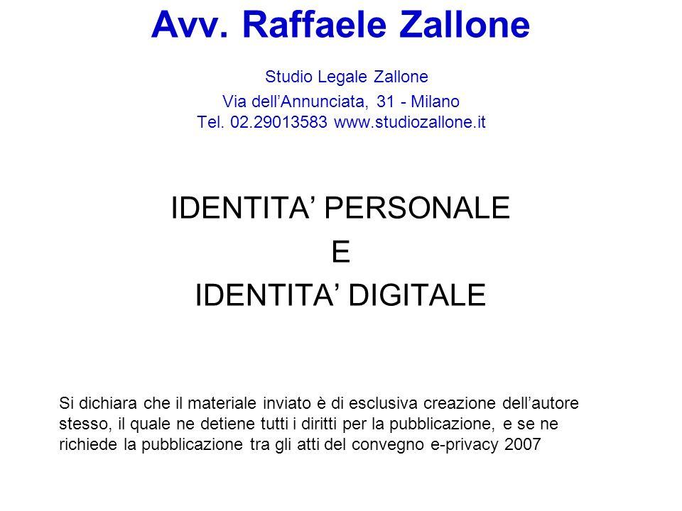 IDENTITA' PERSONALE E IDENTITA' DIGITALE
