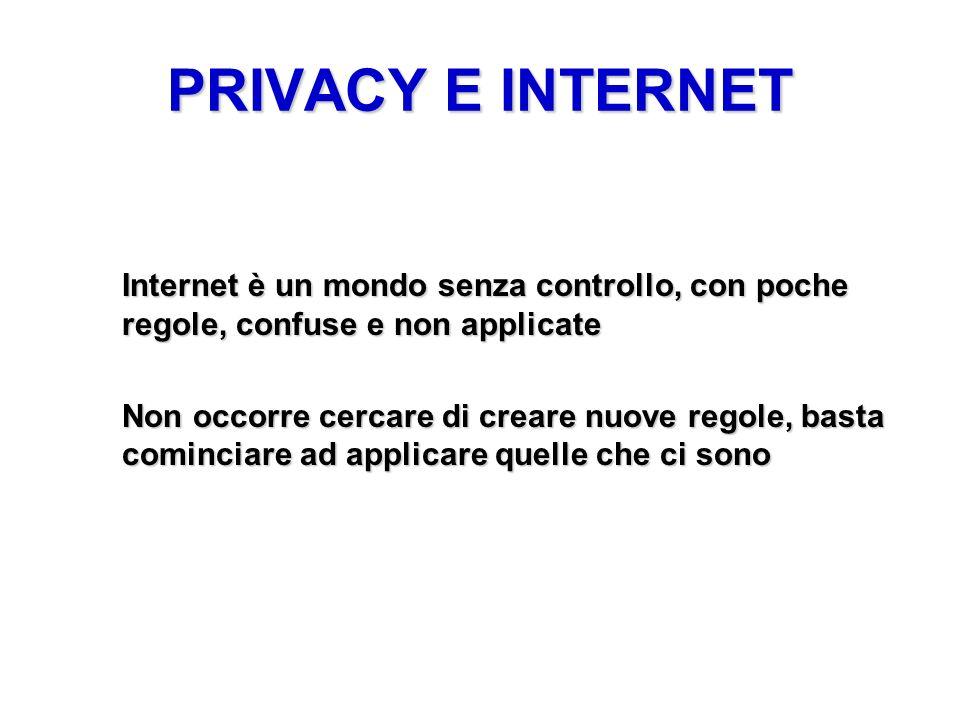 PRIVACY E INTERNET Internet è un mondo senza controllo, con poche regole, confuse e non applicate.
