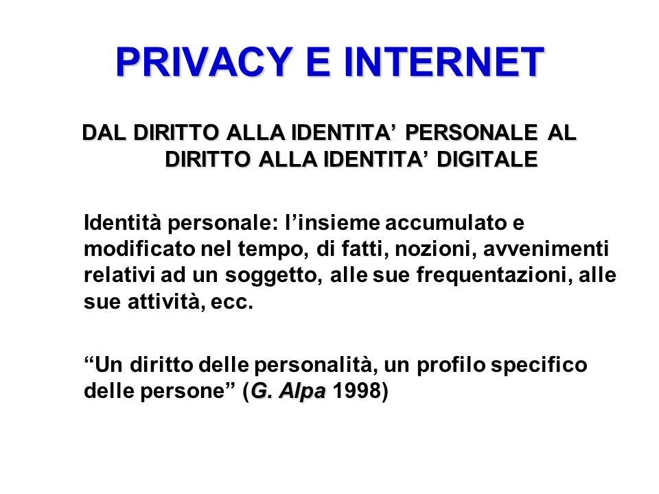 PRIVACY E INTERNET DAL DIRITTO ALLA IDENTITA' PERSONALE AL DIRITTO ALLA IDENTITA' DIGITALE.