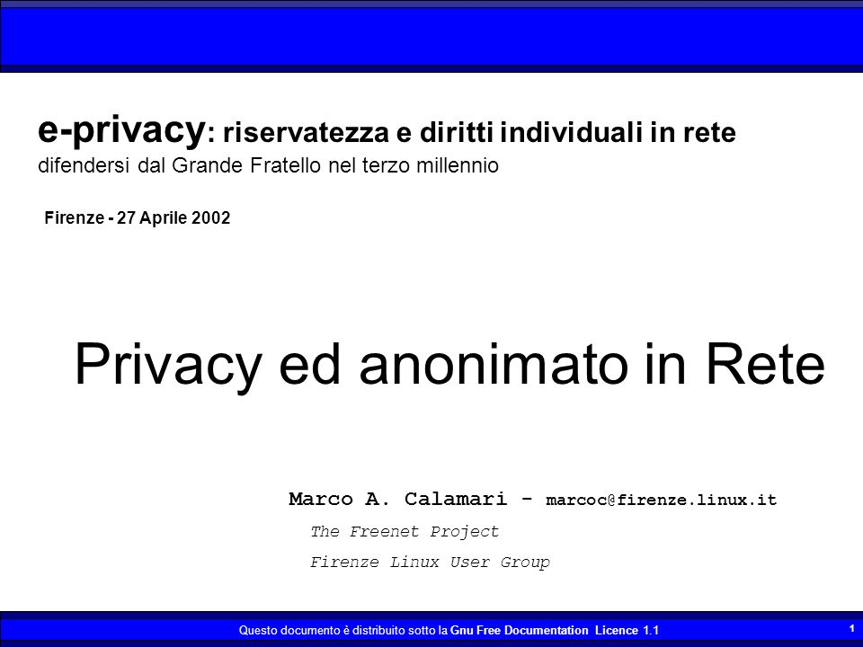 Privacy ed anonimato in Rete