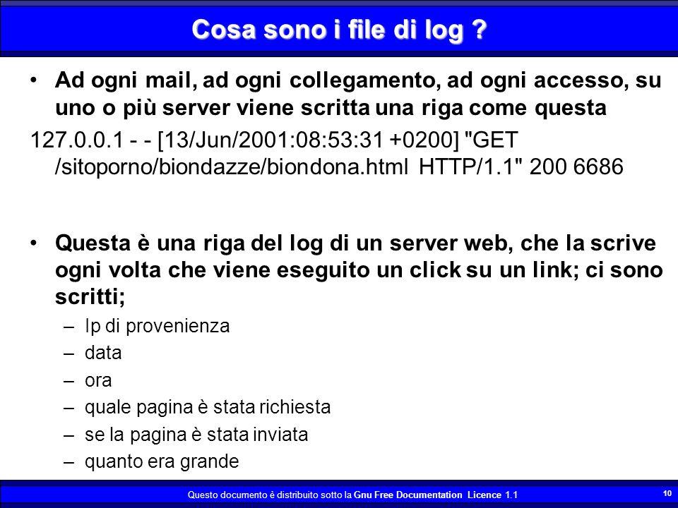 Cosa sono i file di log Ad ogni mail, ad ogni collegamento, ad ogni accesso, su uno o più server viene scritta una riga come questa.