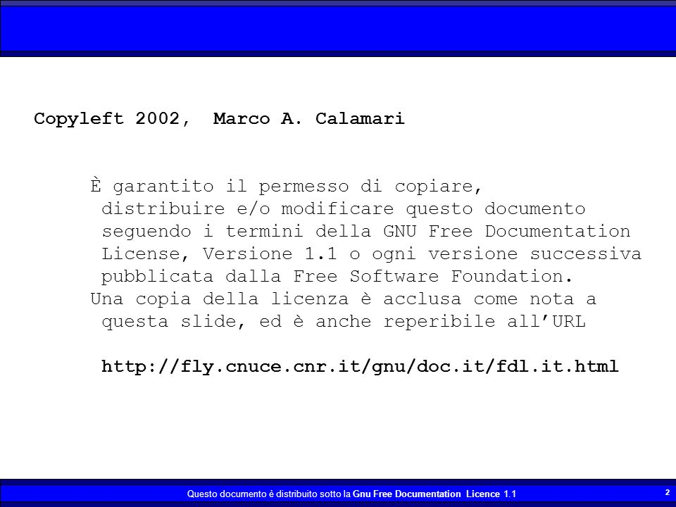 Copyleft 2002, Marco A. Calamari