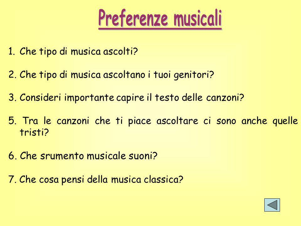 Preferenze musicali 6. Che srumento musicale suoni