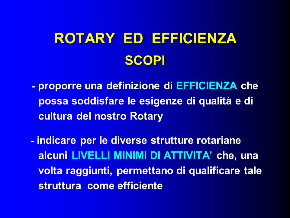 ROTARY ED EFFICIENZA SCOPI