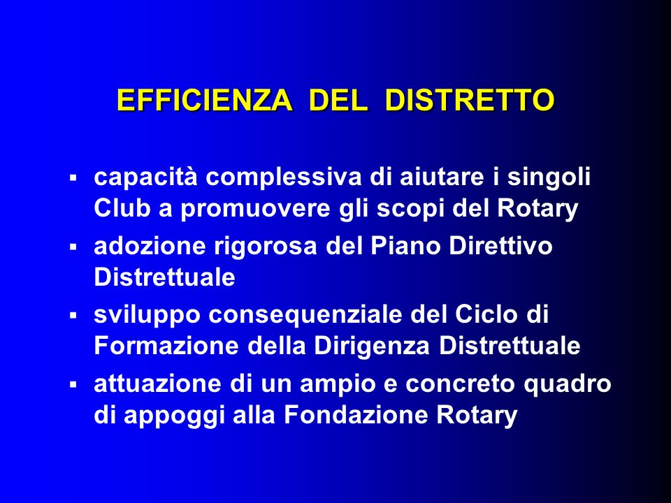 EFFICIENZA DEL DISTRETTO