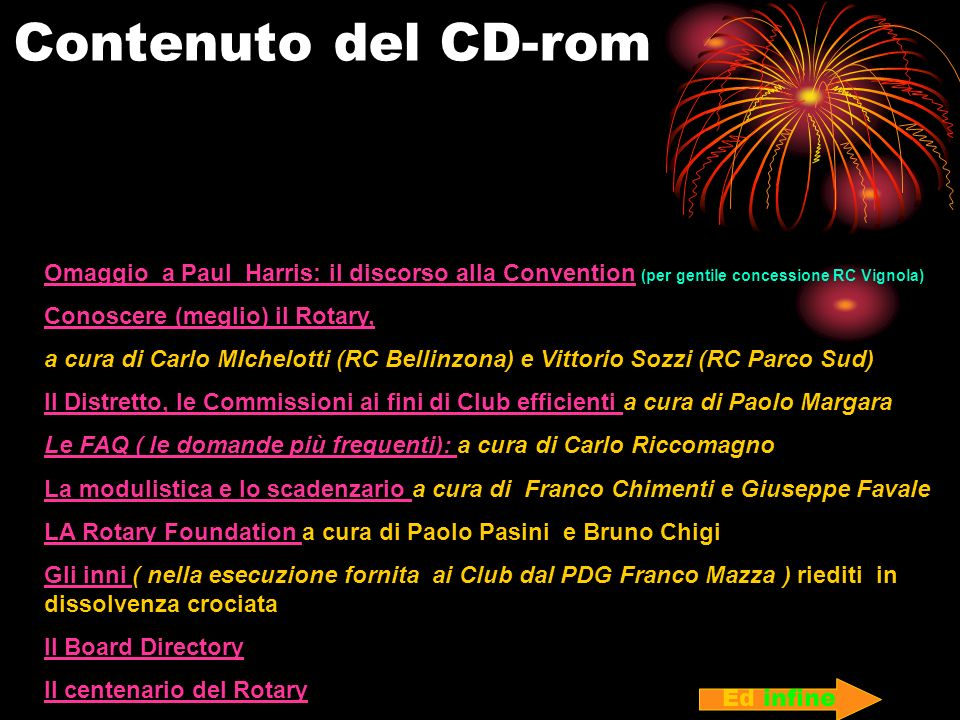 Contenuto del CD-rom Omaggio a Paul Harris: il discorso alla Convention (per gentile concessione RC Vignola)
