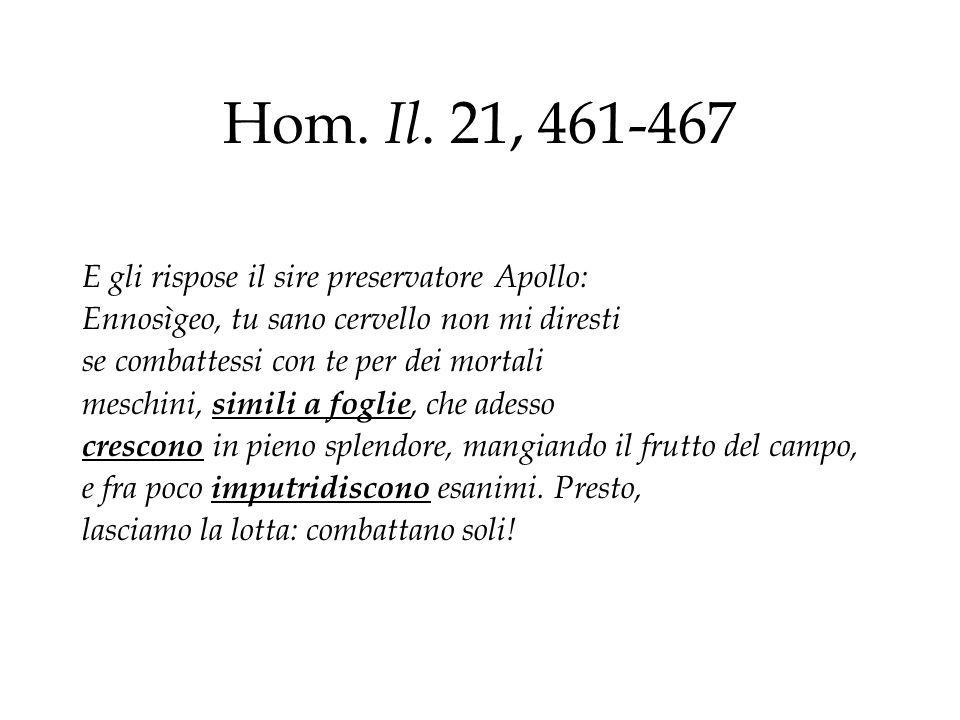Hom. Il. 21, 461-467 E gli rispose il sire preservatore Apollo: