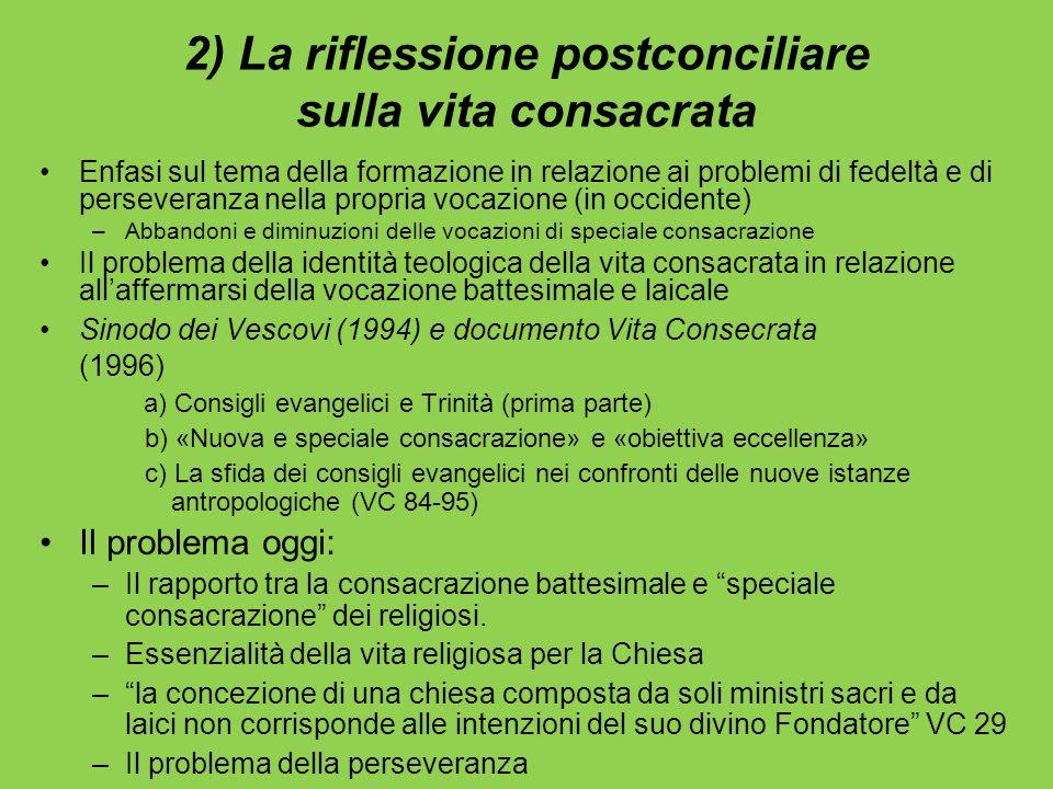 2) La riflessione postconciliare sulla vita consacrata