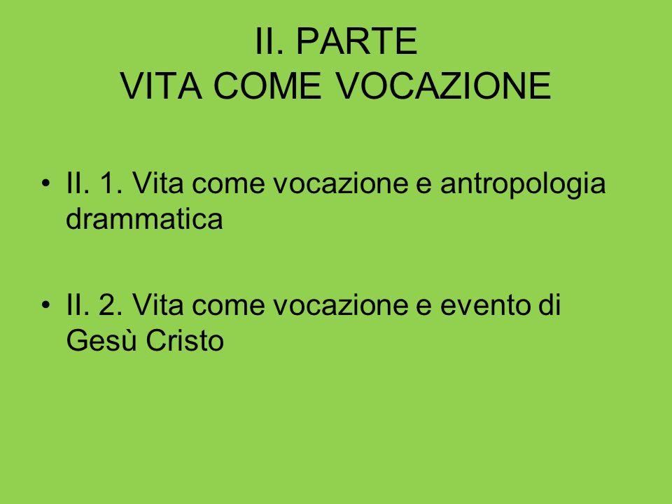 II. PARTE VITA COME VOCAZIONE