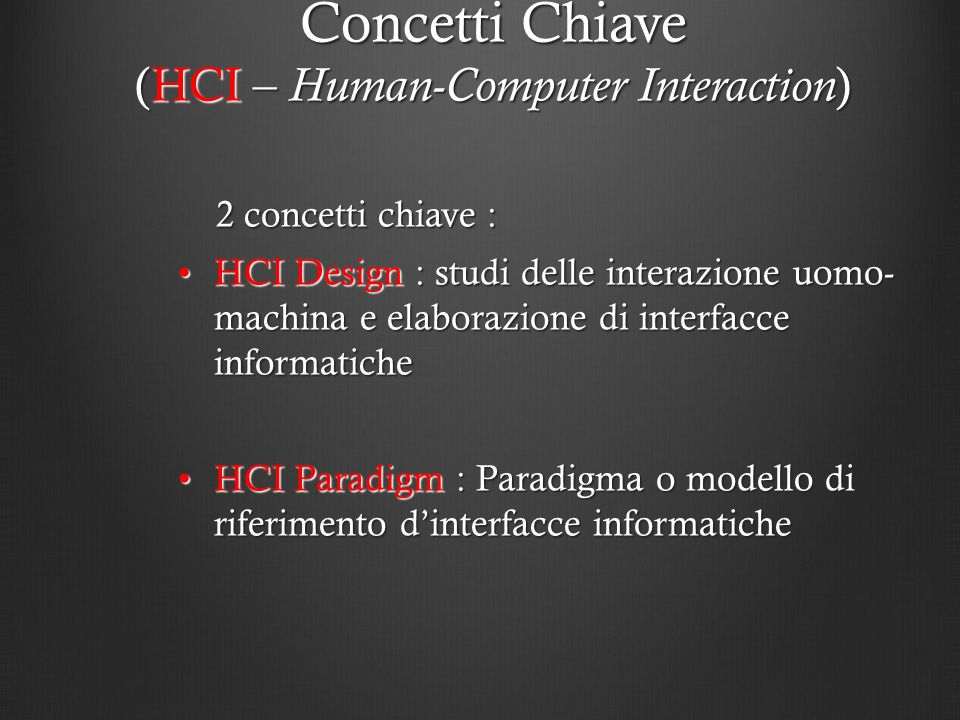 Concetti Chiave (HCI – Human-Computer Interaction)