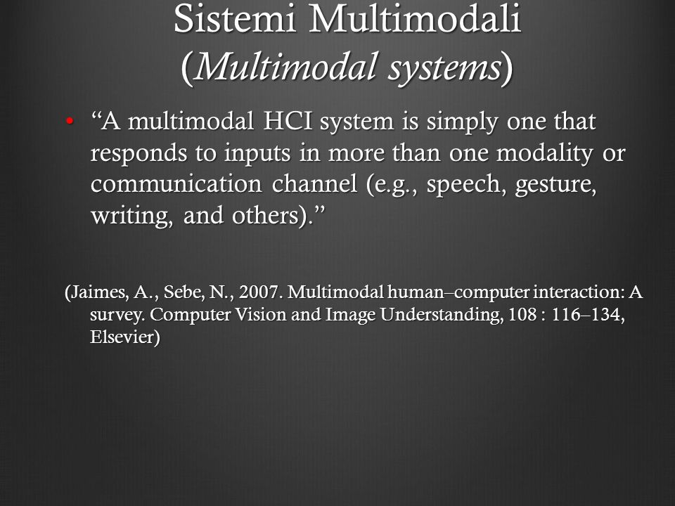 Sistemi Multimodali (Multimodal systems)