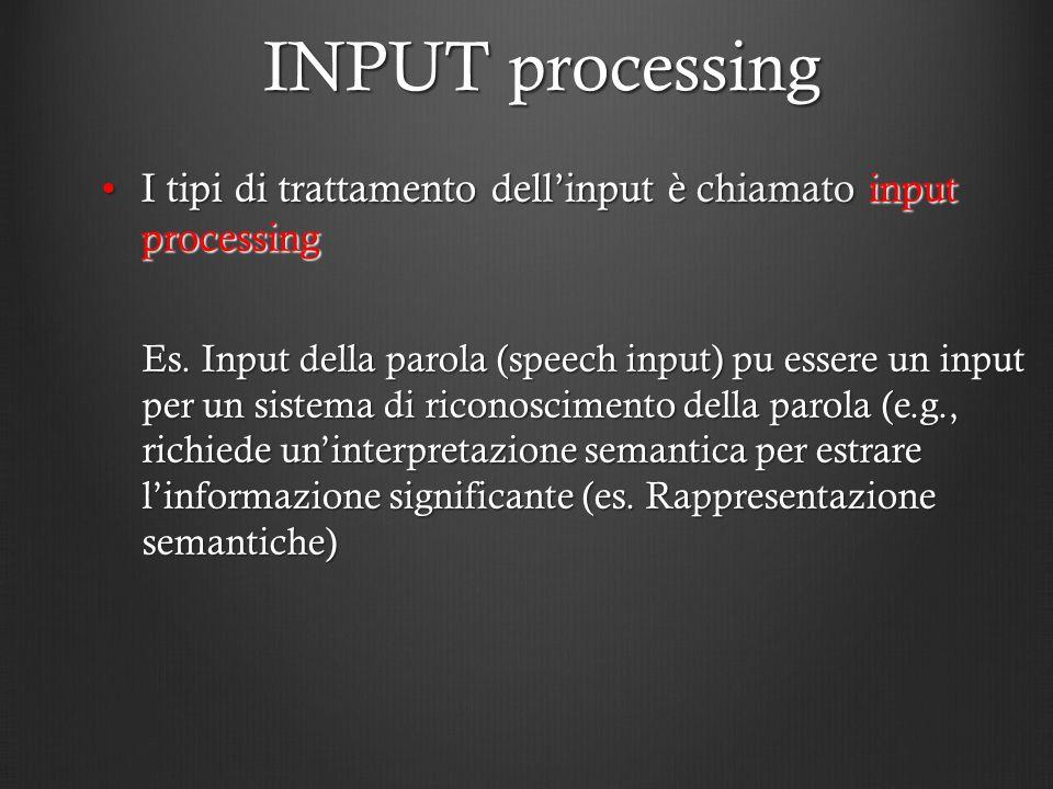 INPUT processing I tipi di trattamento dell'input è chiamato input processing.