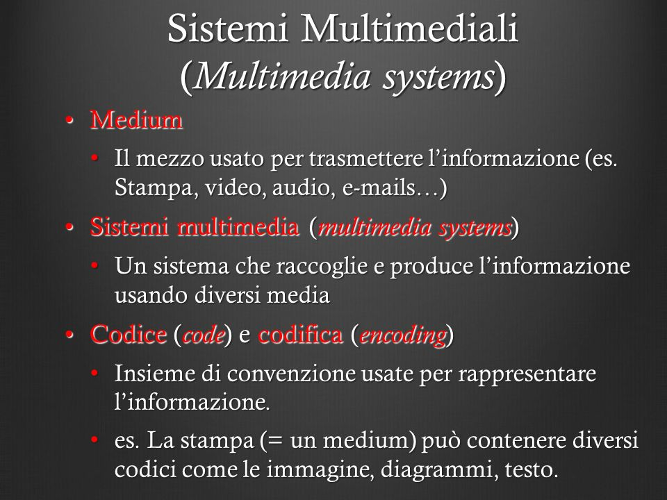 Sistemi Multimediali (Multimedia systems)