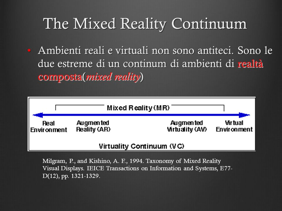 The Mixed Reality Continuum