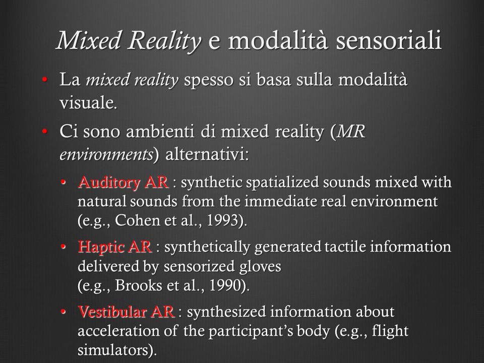 Mixed Reality e modalità sensoriali