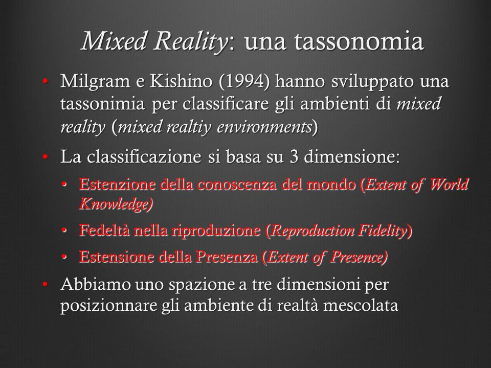 Mixed Reality: una tassonomia
