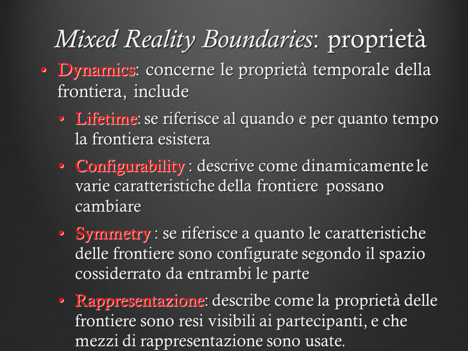 Mixed Reality Boundaries: proprietà