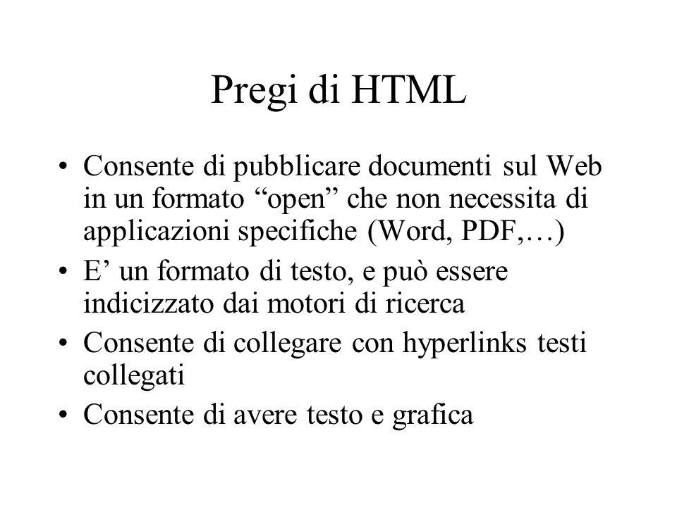 Pregi di HTML Consente di pubblicare documenti sul Web in un formato open che non necessita di applicazioni specifiche (Word, PDF,…)