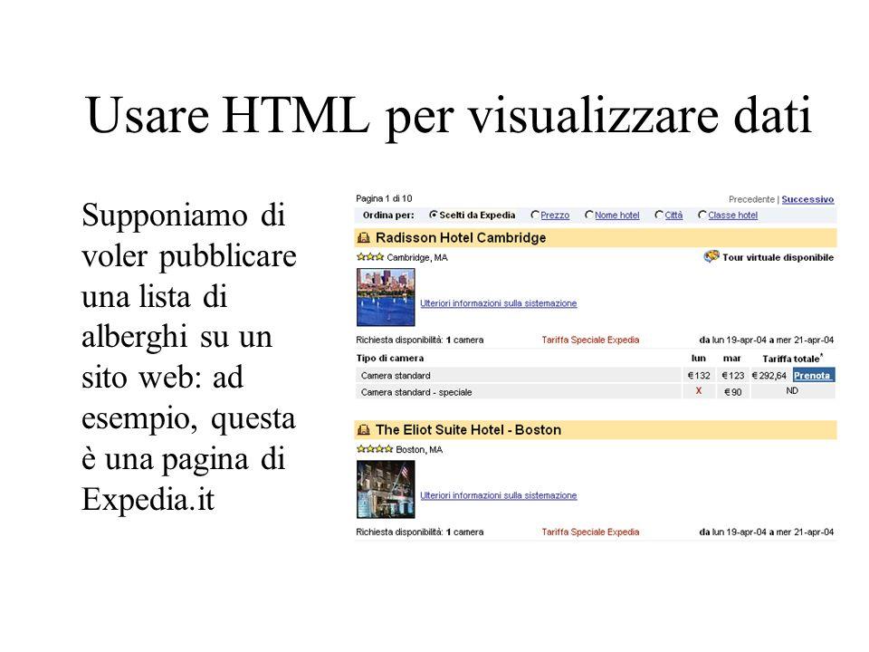 Usare HTML per visualizzare dati