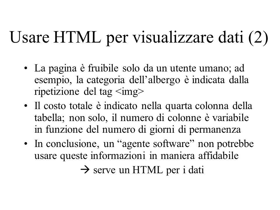 Usare HTML per visualizzare dati (2)