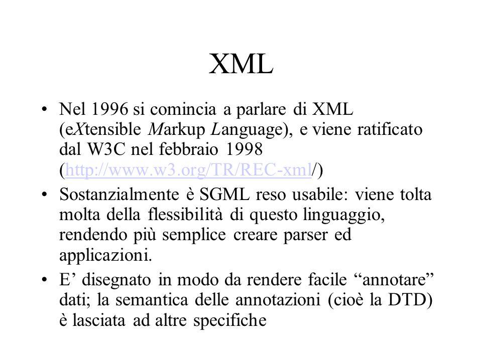 XML Nel 1996 si comincia a parlare di XML (eXtensible Markup Language), e viene ratificato dal W3C nel febbraio 1998 (http://www.w3.org/TR/REC-xml/)